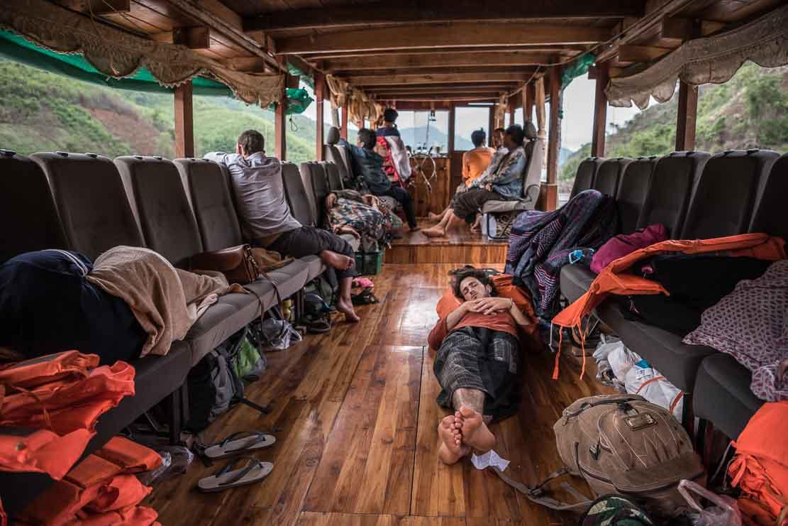 Mekong crossing on slow boat