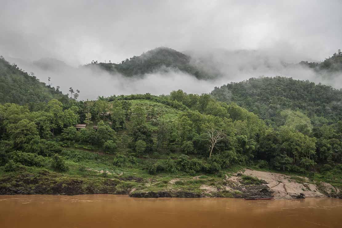 Mekong river in Pakbeng town in Laos