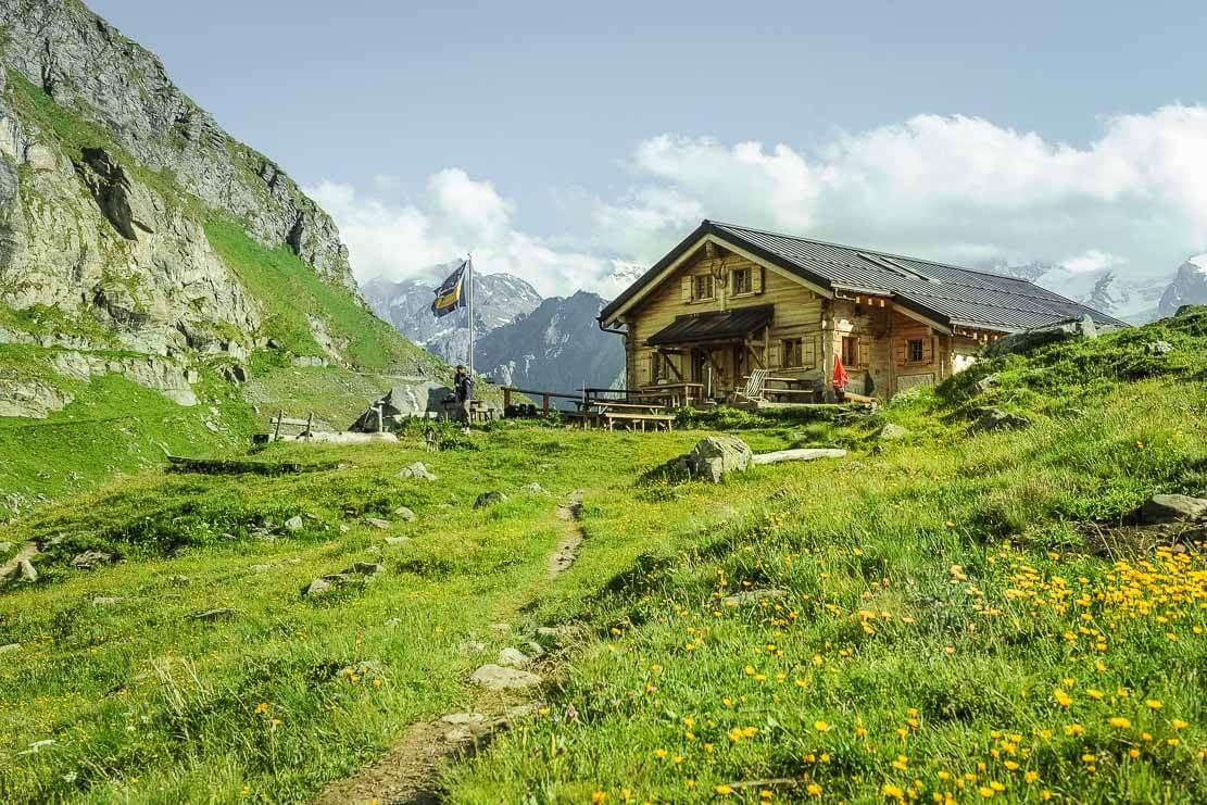 Hiking to the Louvie hut in Switzerland