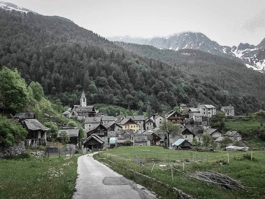Village of Fusio in Valle Maggia in Ticino, Switzerland