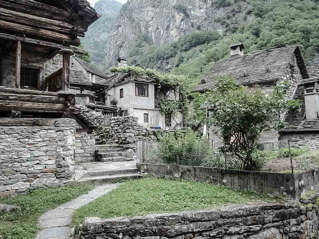 Village of Foroglio in Val Bavona in Ticino, Switzerland