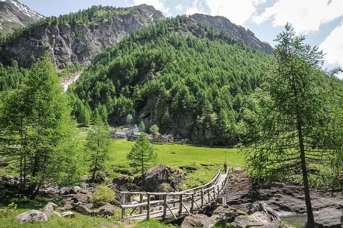 Hiking through the village of Sam Carlo to the Basodino hut in Val Bavona in Ticino, Switzerland