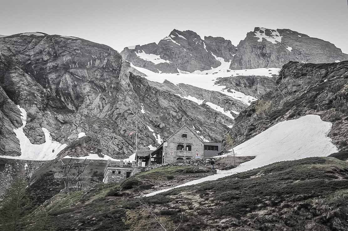 Basodino hut in Ticino, Switzerland
