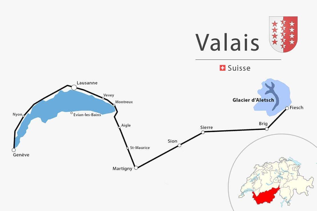 Carte simplifiée Vaud Valais - Randonnée en Suisse au glacier d'Aletsch