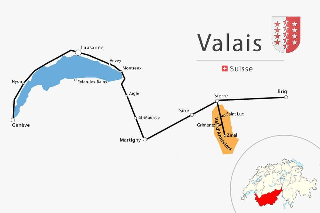 Carte simplifiée Vaud Valais - Randonnée en Suisse à la cabane d'Arpitettaz