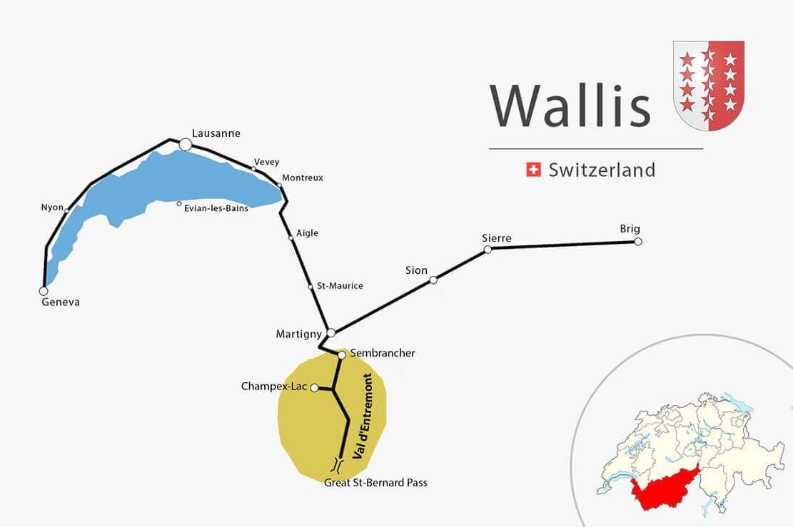 Simple map Vaud Wallis Val Entremont