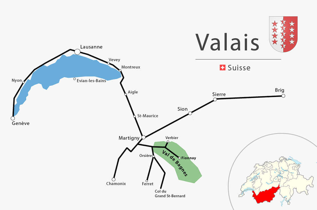 Vaud Valais carte simplifiée-Randonnée à la cabane de Louvie en Suisse