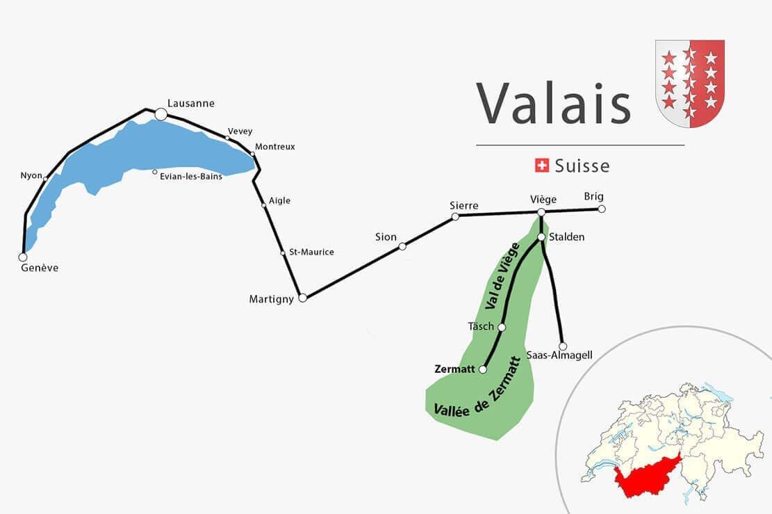 Carte simplifiée Vaud Valais - Randonnée à la cabane de Schönbiel (Schönbielhütte) de Zermatt