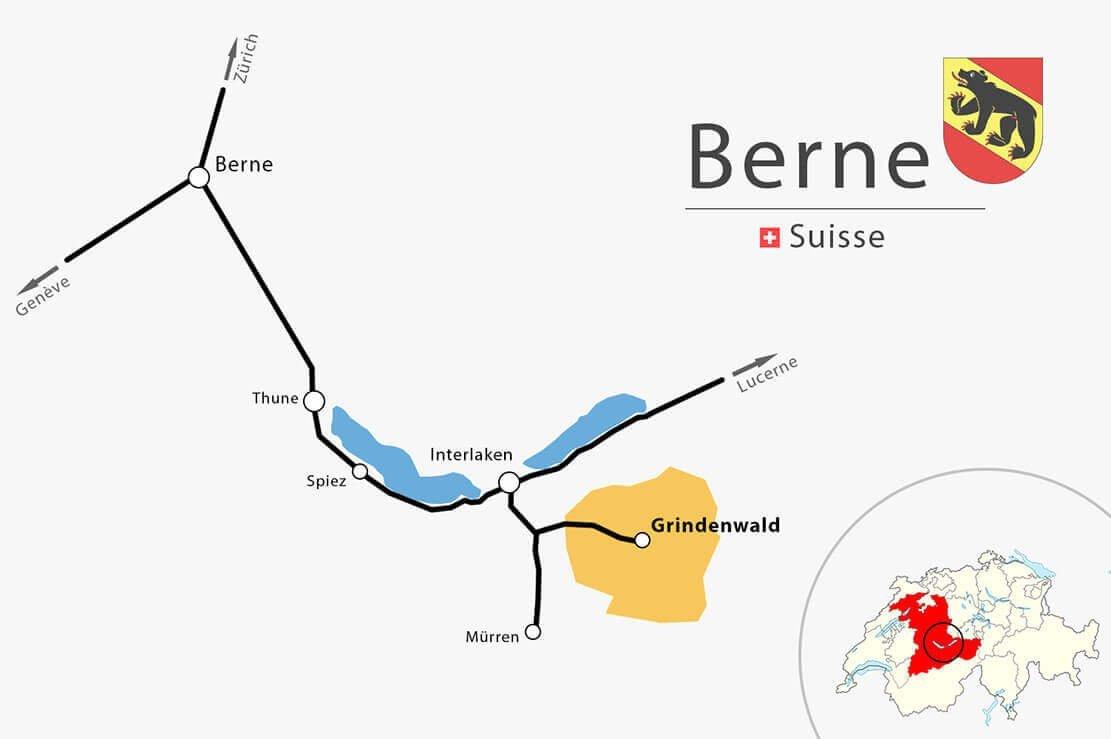 Carte simplifiée Berne Interlaken Grindelwald