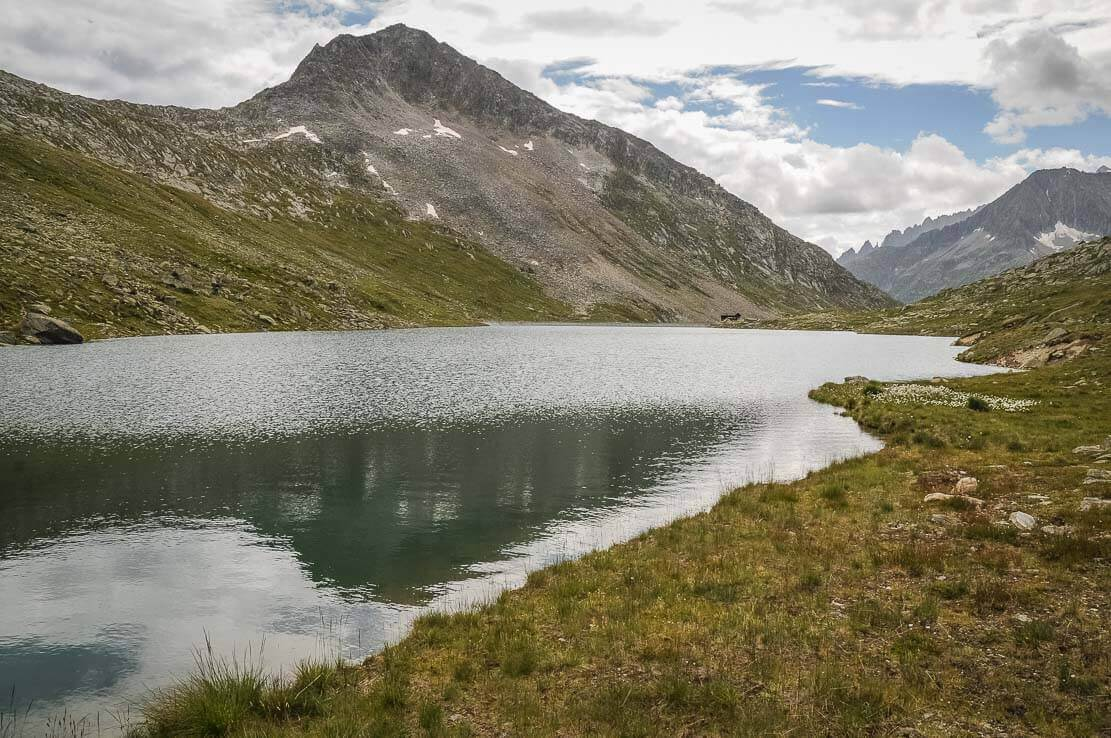 Lake Vordersee, hike in Switzerland to the Aletsch Glacier