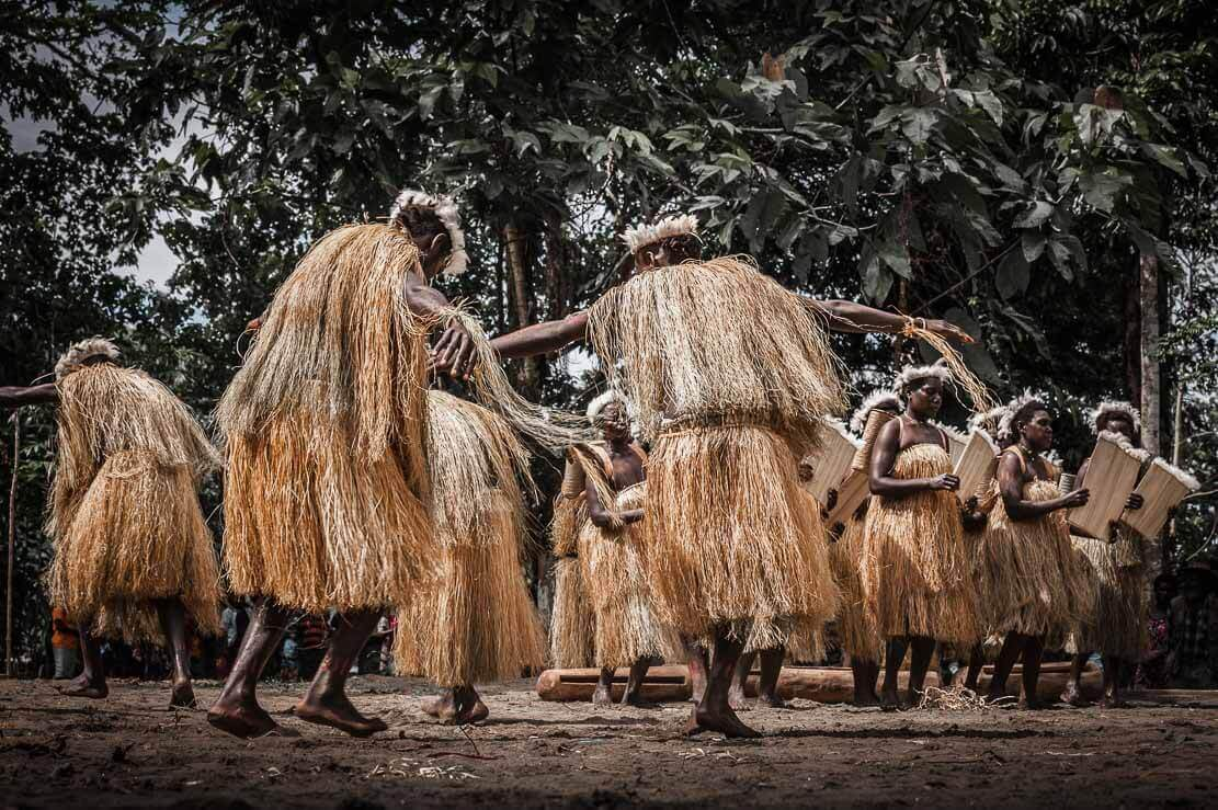 Dancers in traditional costumes at the Bougainville Reeds Festival