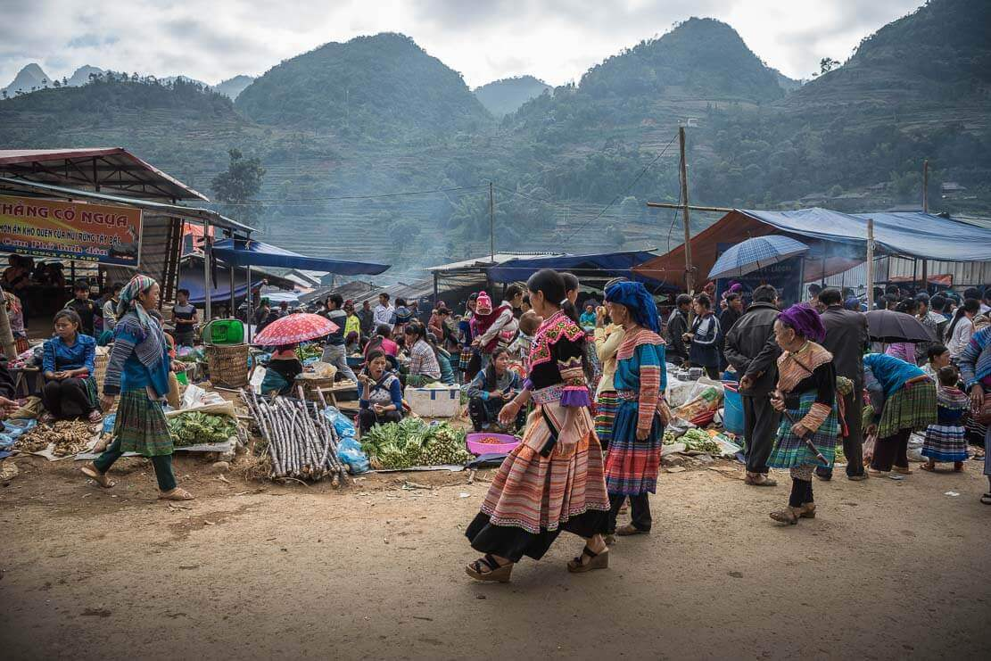 Can Cau market in Lao Cai province of Vietnam