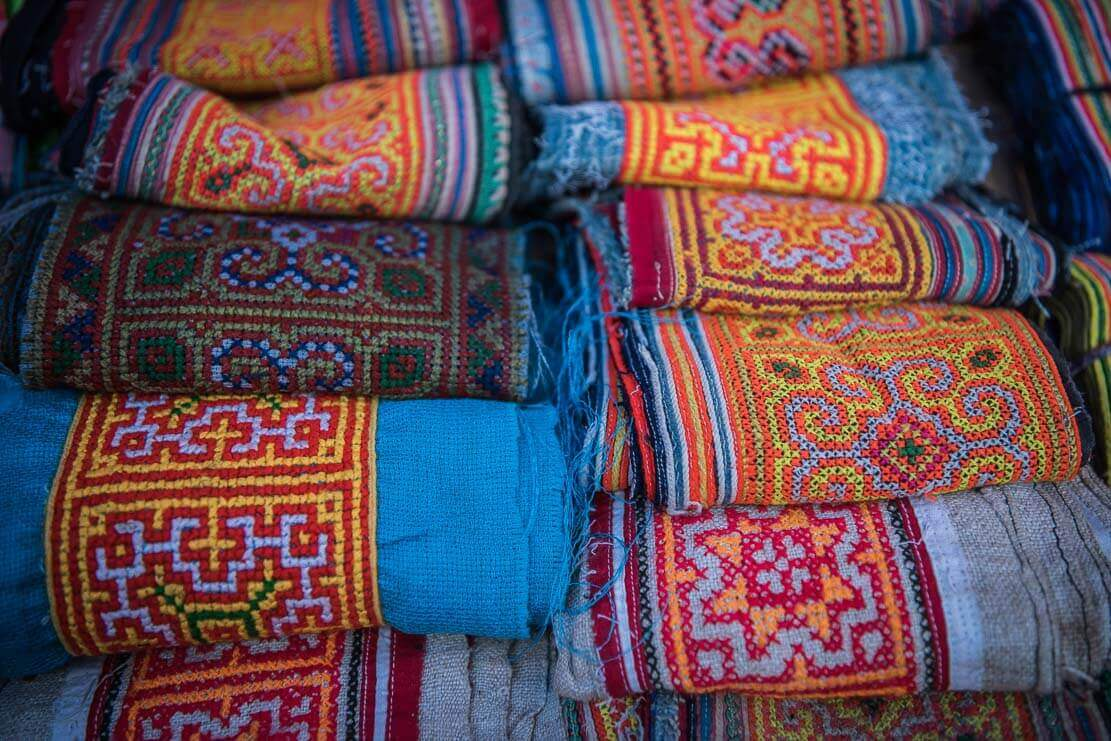 Traditional clothes at Can Cau market in Vietnam