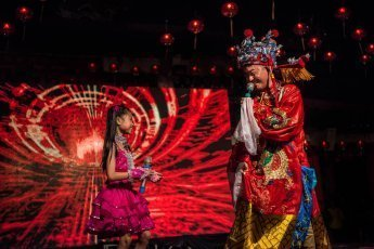 Lighting ceremony of Chingay Ritual in Johor Bahru Malaysia