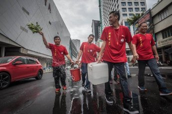 Street cleansing ceremony of Chingay Ritual in Johor Bahru Malaysia
