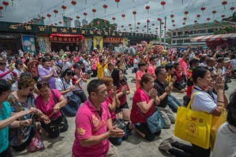 Prayers in Xing Gong temporary shrine in Johor Bahru Malaysia
