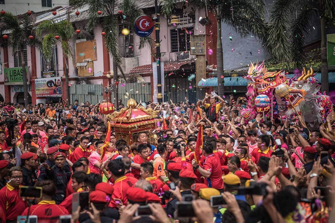 Return of deities to the Old Temple after Chingay Parade Johor Bahru, Malaysia
