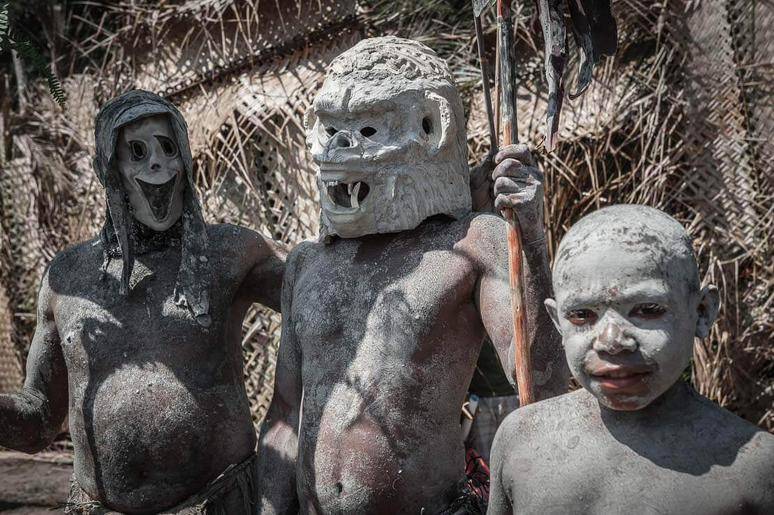 Asaro mudmen at the National Mask Festival East New Britain