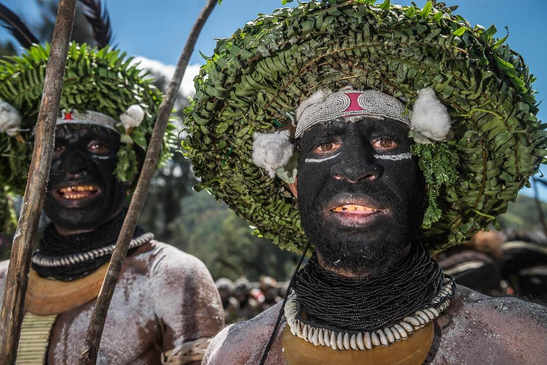 Papua New Guinea festivals: male dancers from Enga province at Enga Cultural Show in Wabag