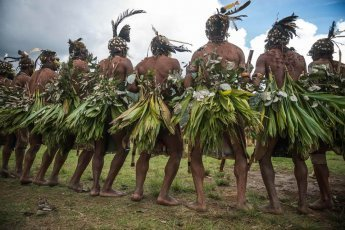 Papua New Guinea festivals: Lyano Spiders sing sing groups from Enga province at Enga Cultural Show in Wabag