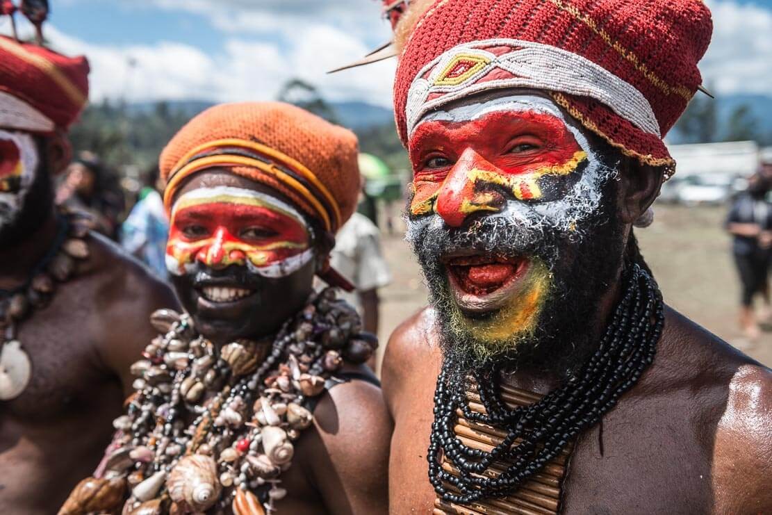 Papua New Guinea festivals: sing sing groups from Wapenamanda in Enga province at Enga Cultural Show in Wabag