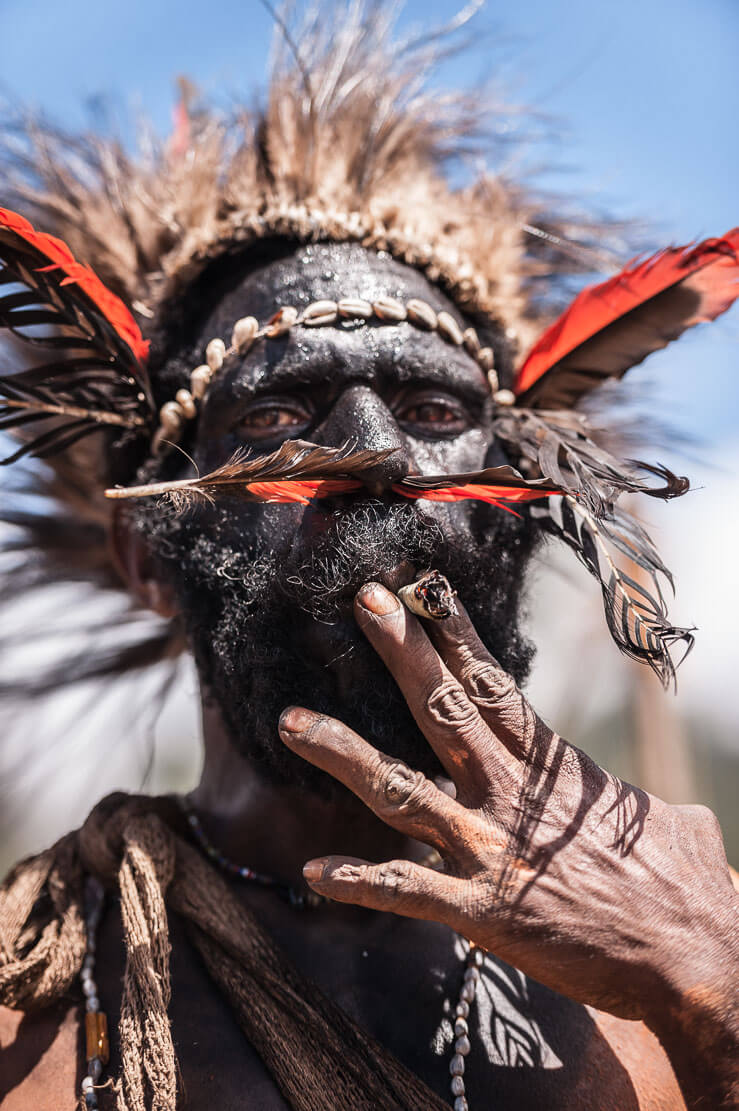 Papua New Guinea festivals: Hewa people from Hela province at Enga Cultural Show in Wabag
