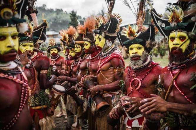 Papua New Guinea festivals: Huli wigmen from Hela province at Enga Cultural Show in Wabag