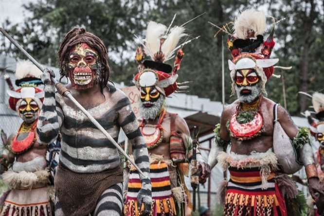 Papua New Guinea festivals: warriors from Western Highlands province at Enga Cultural Show in Wabag