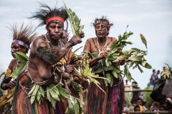 Traditional dancing and singing at Gulf Mask Festival in Gulf province in Papua New Guinea