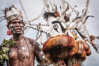 Colourful masks at Gulf Mask Festival in Gulf province in Papua New Guinea