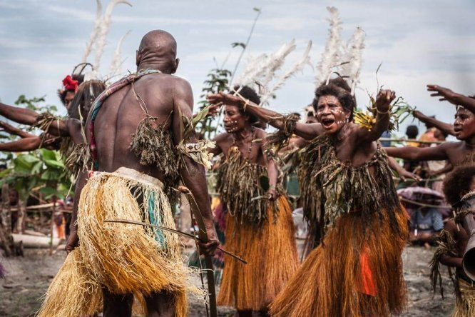 Traditional dancers at Gulf Mask Festival in Gulf province in Papua New Guinea