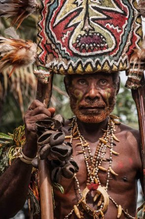 Traditional attire of Gulf tribes at Gulf Mask Festival in Gulf province in Papua New Guinea