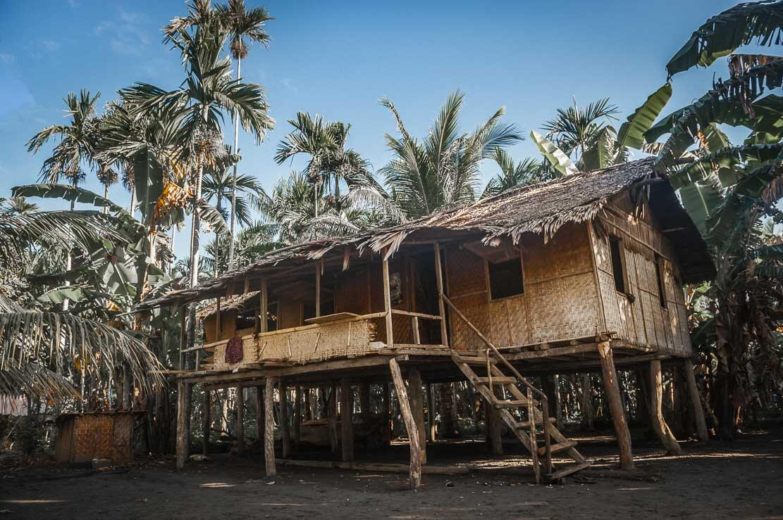 Traditional house on stilts in Toare village in Gulf province in Papua New Guinea