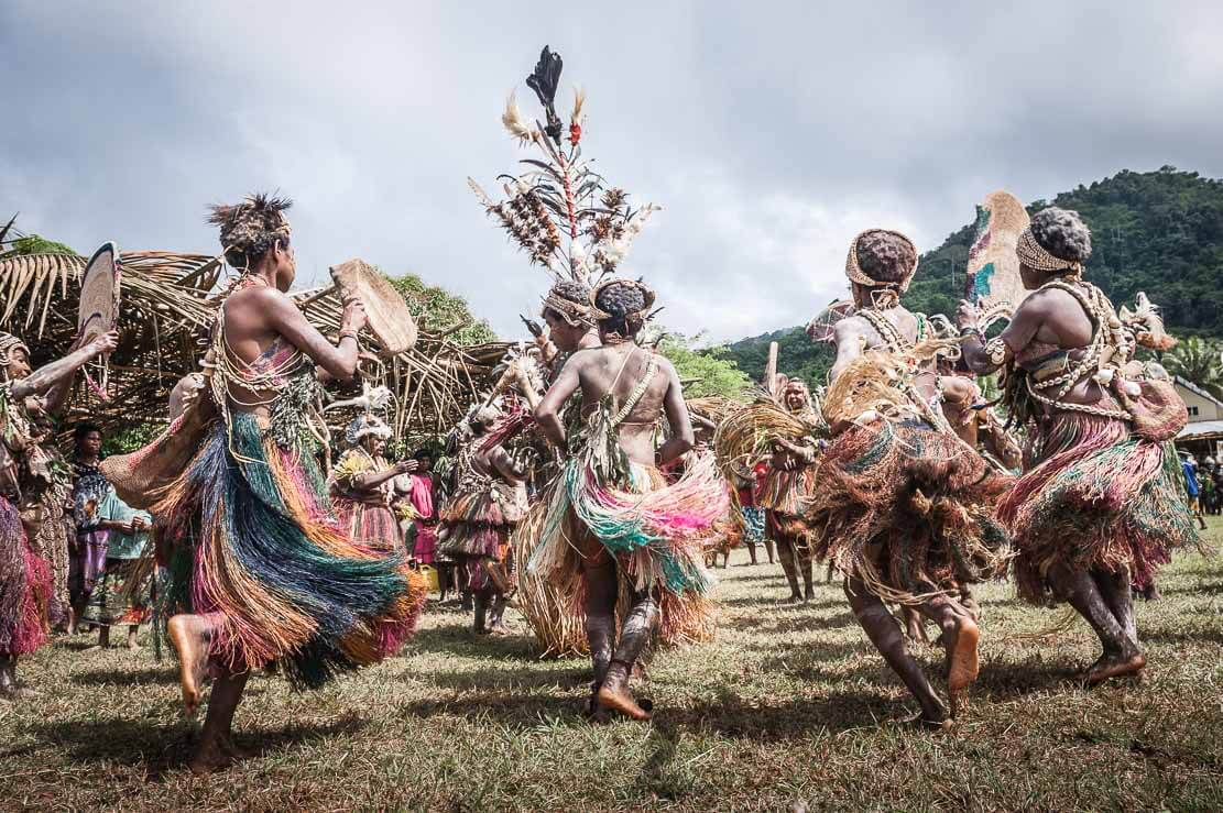 Traditional dancers at Sepik River Crocodile Festival in Ambunti, East Sepik province of Papua New Guinea