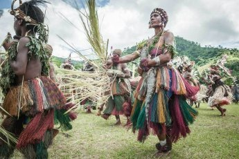 Traditional sing sing groups at Sepik River Crocodile Festival in Ambunti, East Sepik province of Papua New Guinea