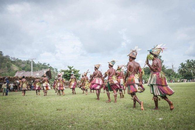 Traditional dancers at Sepik River Crocodile Festival in Ambunti, East Sepik province of Papua New Guinea