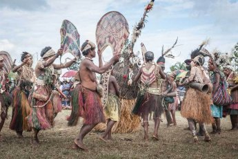 Performers at Sepik River Crocodile Festival in Ambunti, East Sepik province of Papua New Guinea