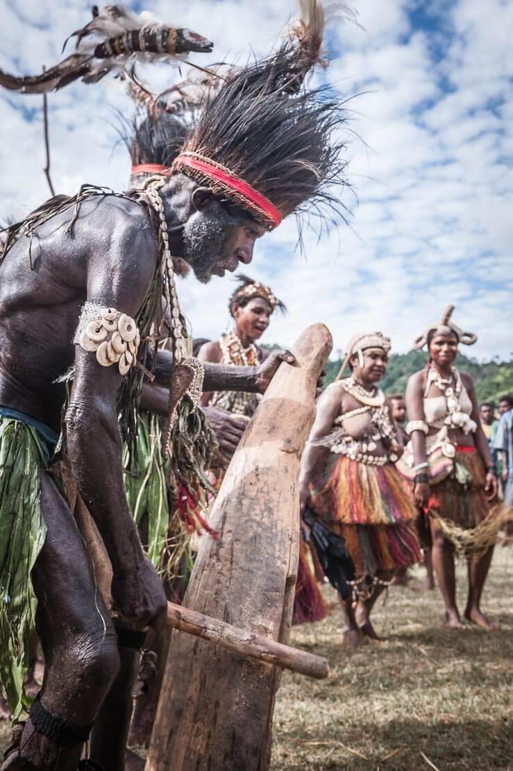 Performers at Sepik River Crocodile Festival in Ambunti, East Sepik province of Papua New Guinea