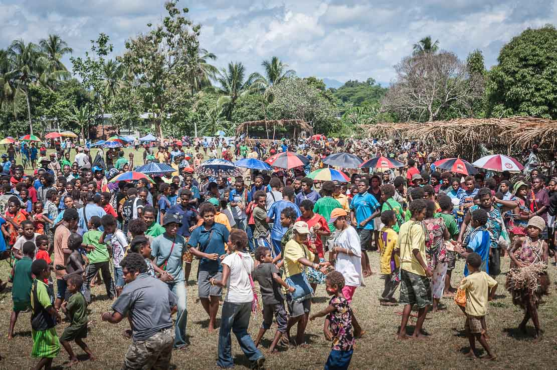 Public at Sepik River Crocodile Festival in Ambunti, East Sepik province of Papua New Guinea