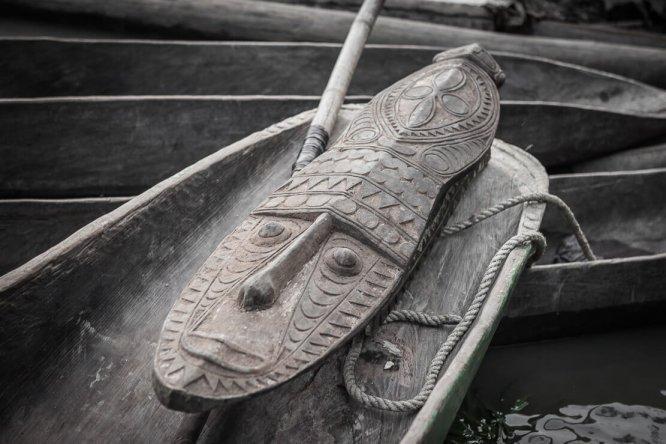 Sepik arts and crafts at Sepik River Crocodile Festival in Ambunti, East Sepik province of Papua New Guinea