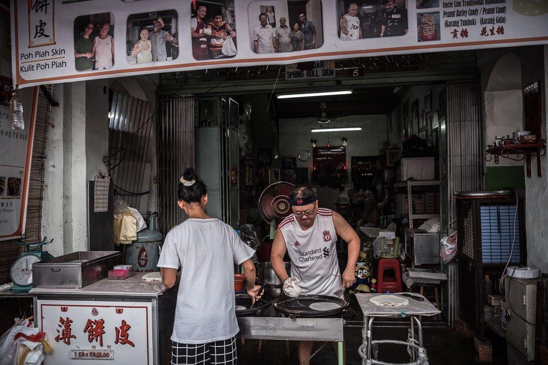 Famous in Penang, Lim's popiah skin shop