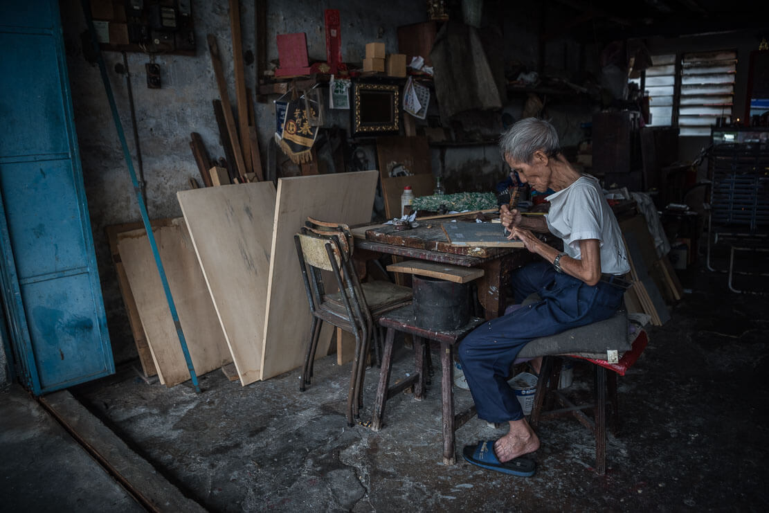 Penang artisan in his shop