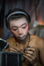 Artists are applying make-up for Chinese Opera in Penang