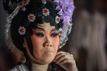 Artists are getting ready for Chinese Opera performance in Penang