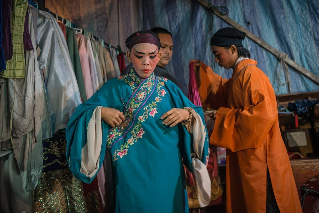 Artists are getting dressed for Chinese Opera in Penang