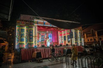 Stage for Chinese Opera performance set in Georgetown in Malaysian state of Penang