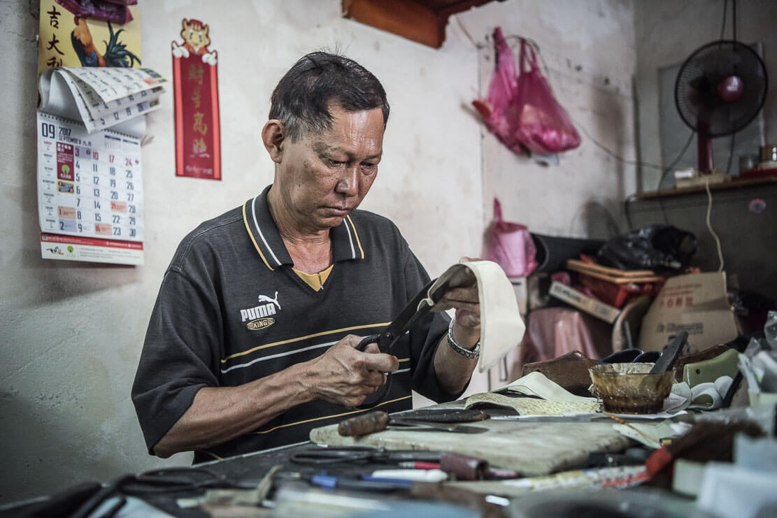 Mr. Tan Kok Oo, Penang traditional artisan at work