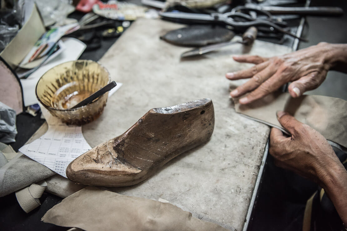 Mr. Tan Kok Oo making Nyonya beaded shoes