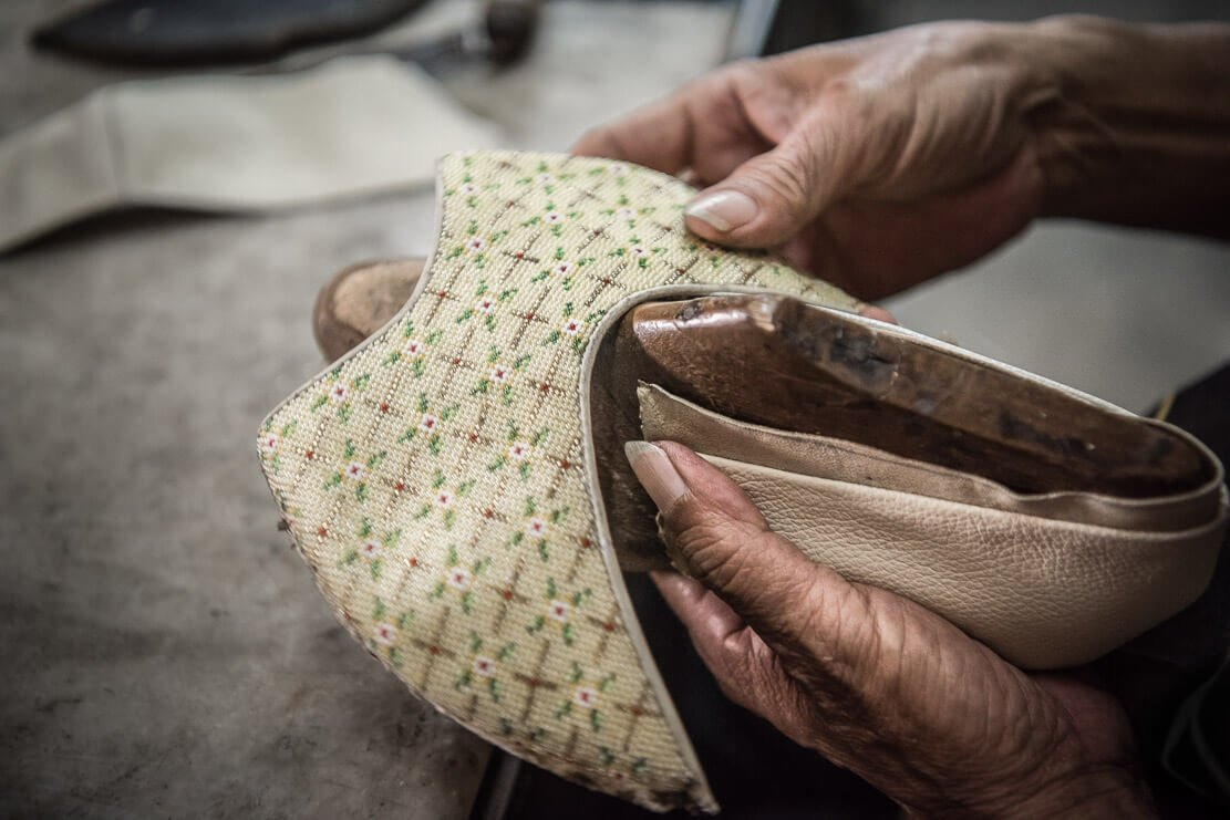 Making traditional Nyonya beaded shoes
