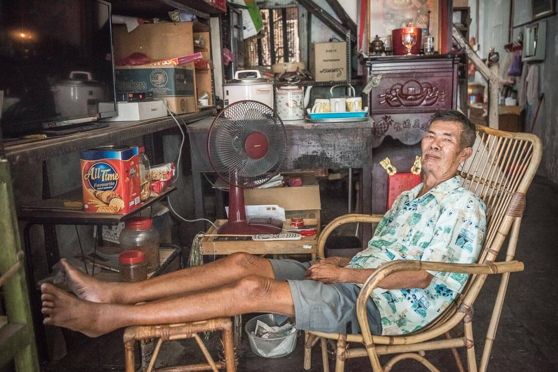 Mr. Lee Soo Kee, rattan weaver, in his shop in Penang, Malaysia